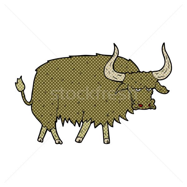 Comic Karikatur verärgert haarig Kuh Retro Stock foto © lineartestpilot