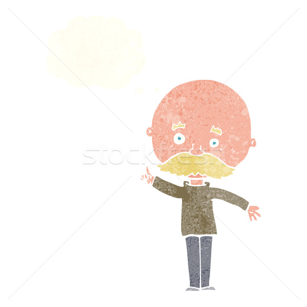 Stock photo: cartoon bald man with idea with thought bubble