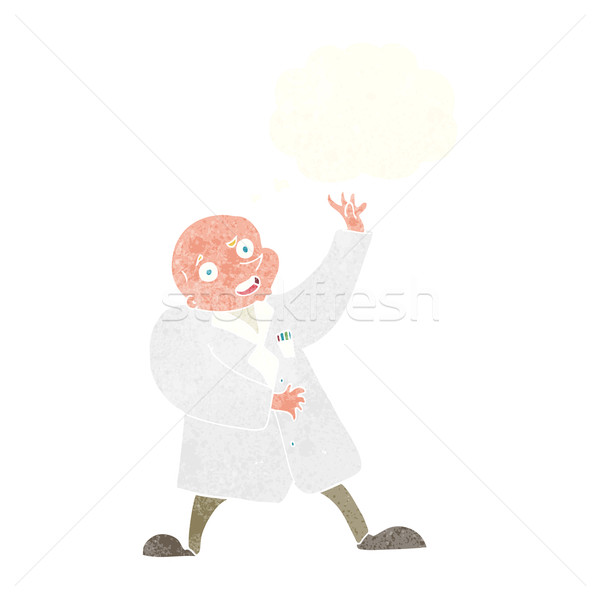 cartoon mad scientist with thought bubble Stock photo © lineartestpilot
