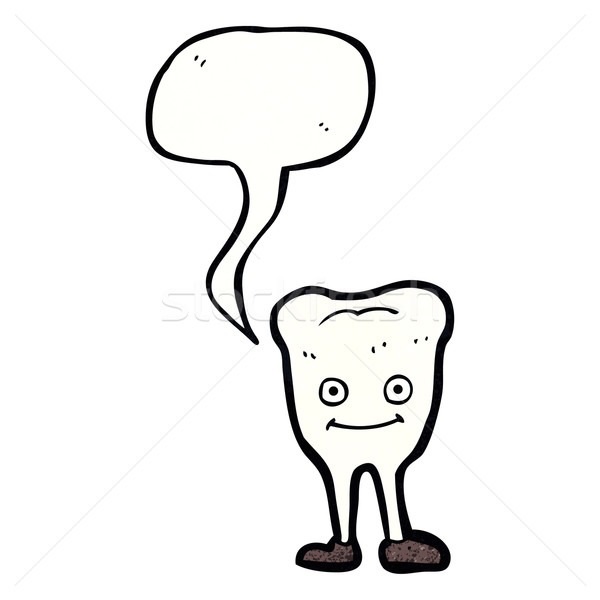 Stock photo: cartoon happy tooth with speech bubble