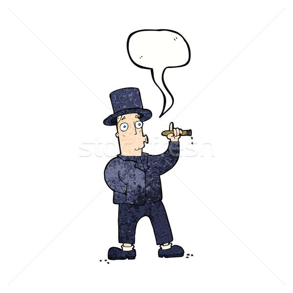 cartoon smoking gentleman with speech bubble Stock photo © lineartestpilot