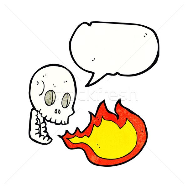 Cartoon fuego respiración cráneo bocadillo mano Foto stock © lineartestpilot