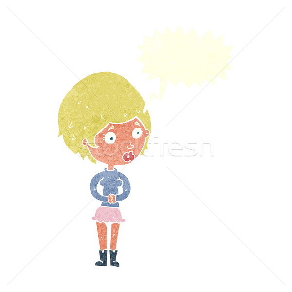 cartoon concerned woman with speech bubble Stock photo © lineartestpilot