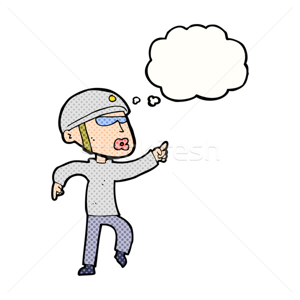 cartoon man in bike helmet pointing with thought bubble Stock photo © lineartestpilot