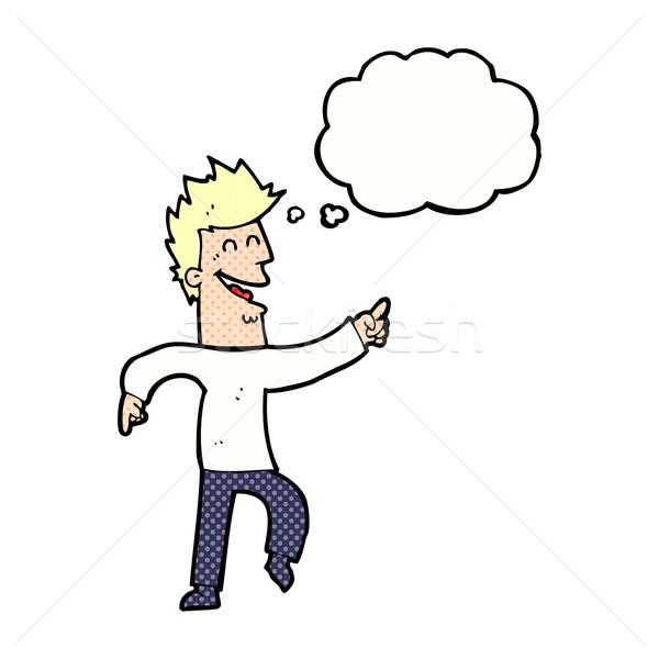 Karikatür adam işaret gülme düşünce balonu el Stok fotoğraf © lineartestpilot