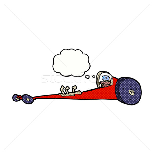 cartoon drag racer with thought bubble Stock photo © lineartestpilot