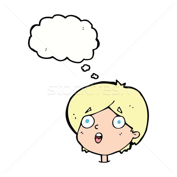 Cartoon мысли пузырь стороны лице дизайна Сток-фото © lineartestpilot