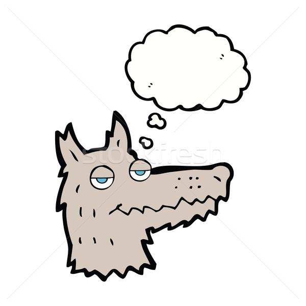 Karikatür kurt kafa düşünce balonu el dizayn Stok fotoğraf © lineartestpilot