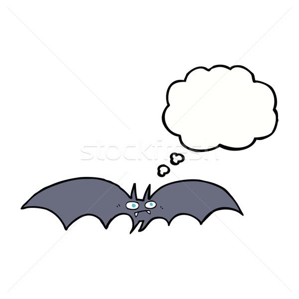 Desenho animado vampiro bat balão de pensamento mão projeto Foto stock © lineartestpilot