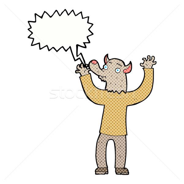 漫画 幸せ 狼 男 吹き出し 手 ストックフォト © lineartestpilot