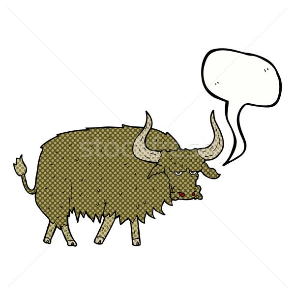 Cartoon волосатый корова речи пузырь стороны Сток-фото © lineartestpilot