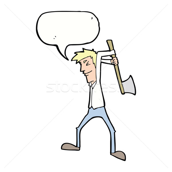 cartoon man swinging axe with speech bubble Stock photo © lineartestpilot