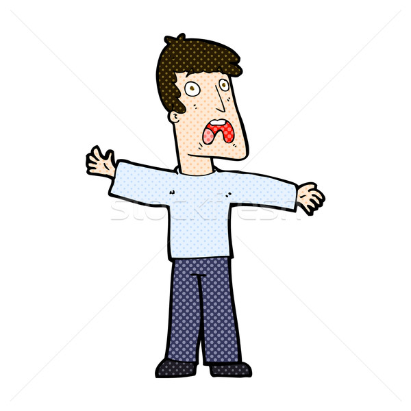 Komische cartoon bange man retro Stockfoto © lineartestpilot