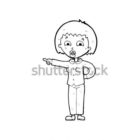Cômico desenho animado careca homem abrir brasão Foto stock © lineartestpilot