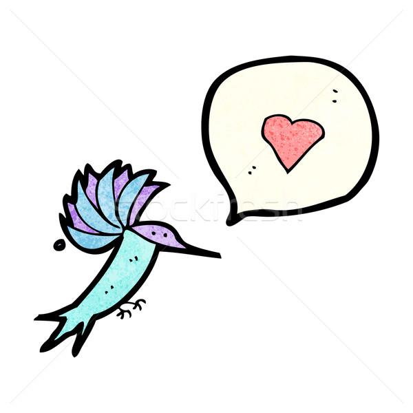 Rajz kolibri textúra kéz boldog szív Stock fotó © lineartestpilot
