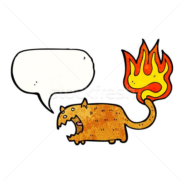 Cartoon cat coda fuoco texture mano Foto d'archivio © lineartestpilot