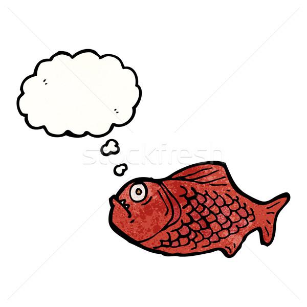 Desenho animado piranha textura mão feliz vermelho Foto stock © lineartestpilot