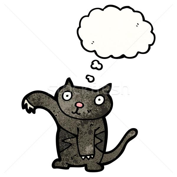 Halloween gato preto desenho animado gato retro balão Foto stock © lineartestpilot