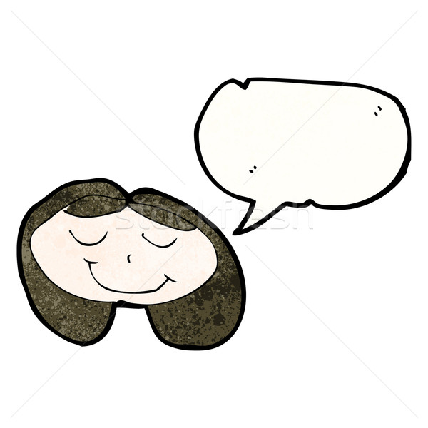 child's drawing of a happy girl with speech bubble Stock photo © lineartestpilot