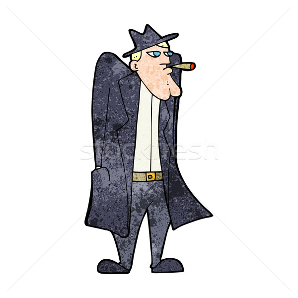 cartoon man in hat and trench coat Stock photo © lineartestpilot