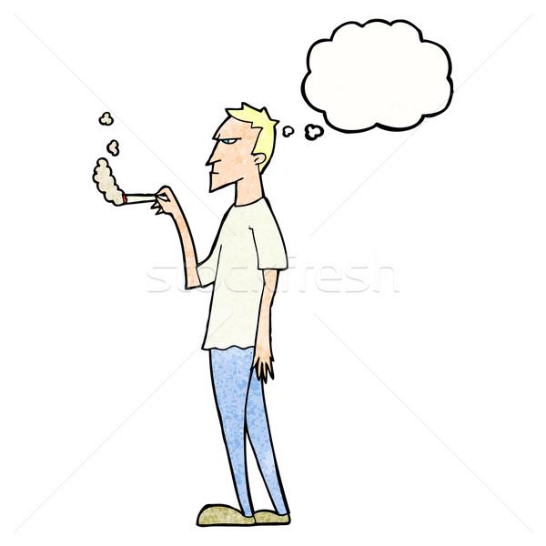 Cartoon agacé fumeur bulle de pensée main design Photo stock © lineartestpilot
