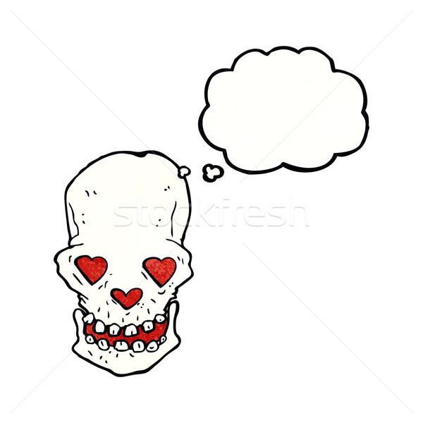 Desenho animado crânio amor coração olhos balão de pensamento Foto stock © lineartestpilot
