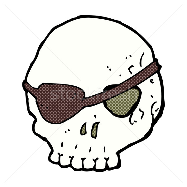 Stock photo: comic cartoon skull with eye patch