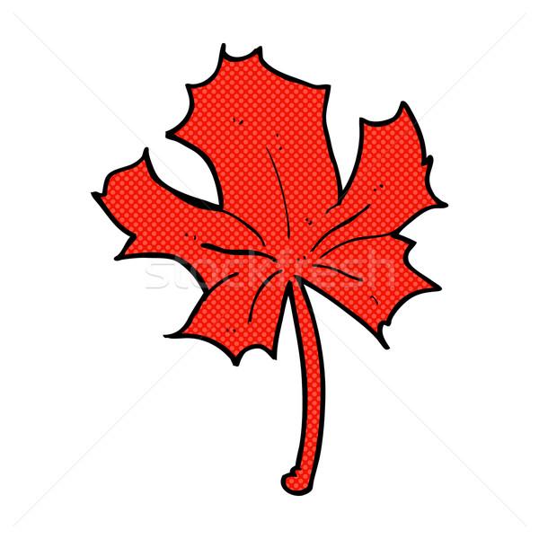 Cômico desenho animado vermelho maple leaf retro Foto stock © lineartestpilot