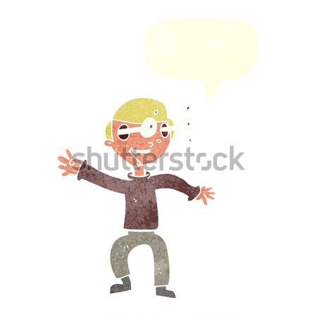 cartoon boy panicking with thought bubble Stock photo © lineartestpilot