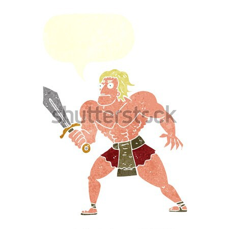 Stock photo: cartoon fantasy hero man with thought bubble