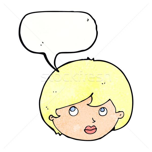 cartoon female face looking upwards with speech bubble Stock photo © lineartestpilot