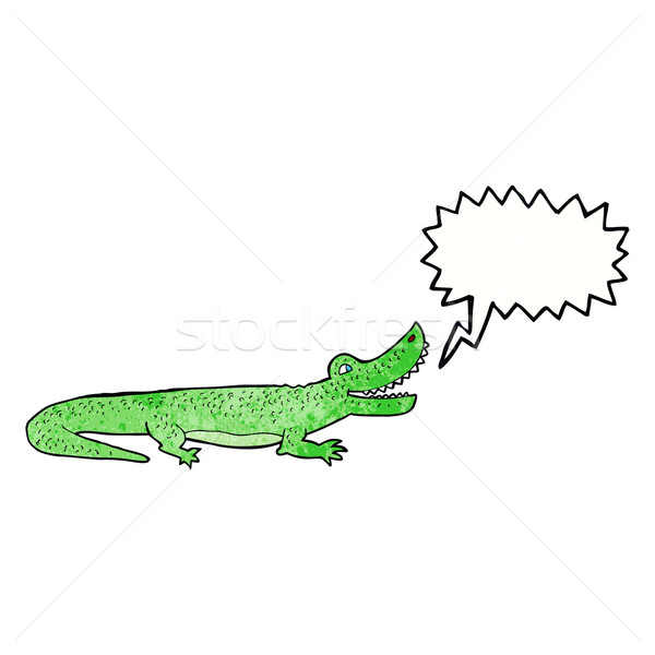 Cartoon heureux crocodile bulle main design Photo stock © lineartestpilot