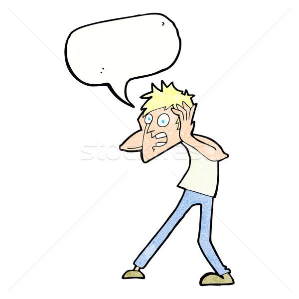cartoon man panicking with speech bubble Stock photo © lineartestpilot