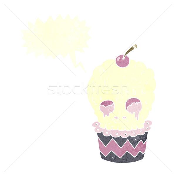 spooky skull cupcake cartoon with speech bubble Stock photo © lineartestpilot