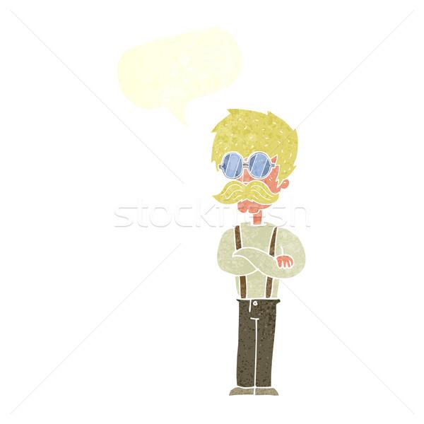 Desenho animado homem bigode óculos discurso Foto stock © lineartestpilot