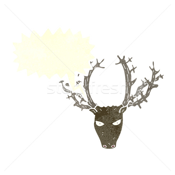 cartoon stag head with speech bubble Stock photo © lineartestpilot