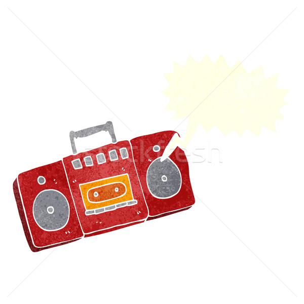 cartoon radio cassette player with speech bubble Stock photo © lineartestpilot