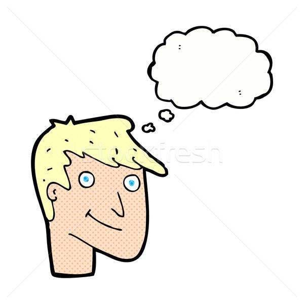 Cartoon gelukkig man gedachte bel hand gezicht Stockfoto © lineartestpilot