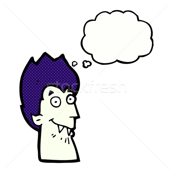cartoon vampire head with thought bubble Stock photo © lineartestpilot