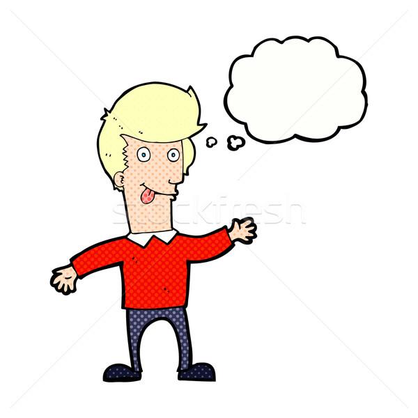 Cartoon homme sur langue bulle de pensée main Photo stock © lineartestpilot