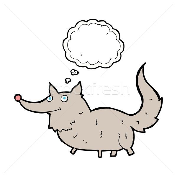 Cartoon weinig wolf gedachte bel hand ontwerp Stockfoto © lineartestpilot