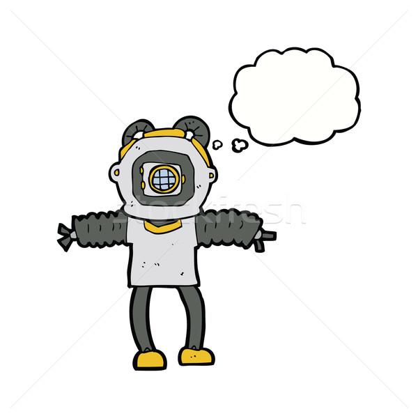 Cartoon diep zee duiker gedachte bel hand Stockfoto © lineartestpilot