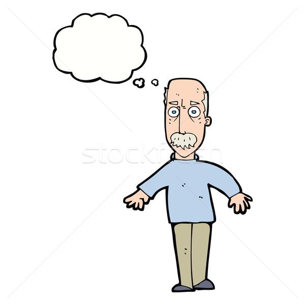 Karikatür rahatsız yaşlı adam düşünce balonu el adam Stok fotoğraf © lineartestpilot