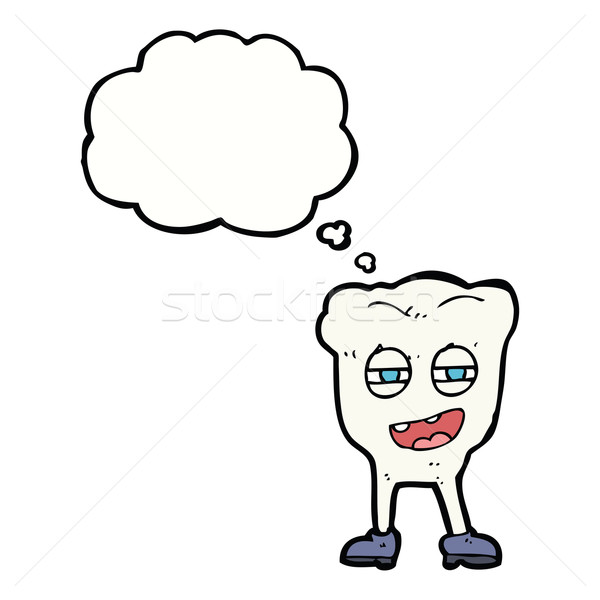 cartoon funny tooth character with thought bubble Stock photo © lineartestpilot