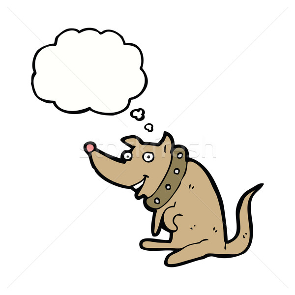 cartoon happy dog in big collar with thought bubble Stock photo © lineartestpilot