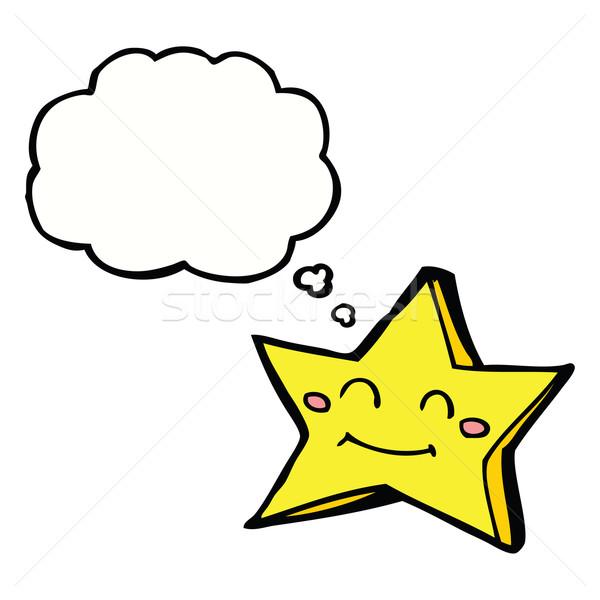 Desenho animado feliz estrela balão de pensamento mão Foto stock © lineartestpilot