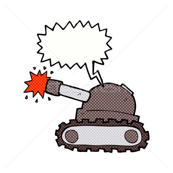 Stock photo: cartoon tank with speech bubble
