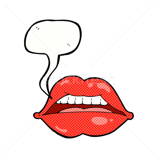 cartoon sexy lips symbol with speech bubble Stock photo © lineartestpilot