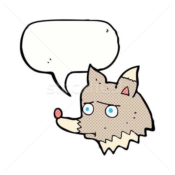 Karikatür mutsuz kurt konuşma balonu el köpek Stok fotoğraf © lineartestpilot