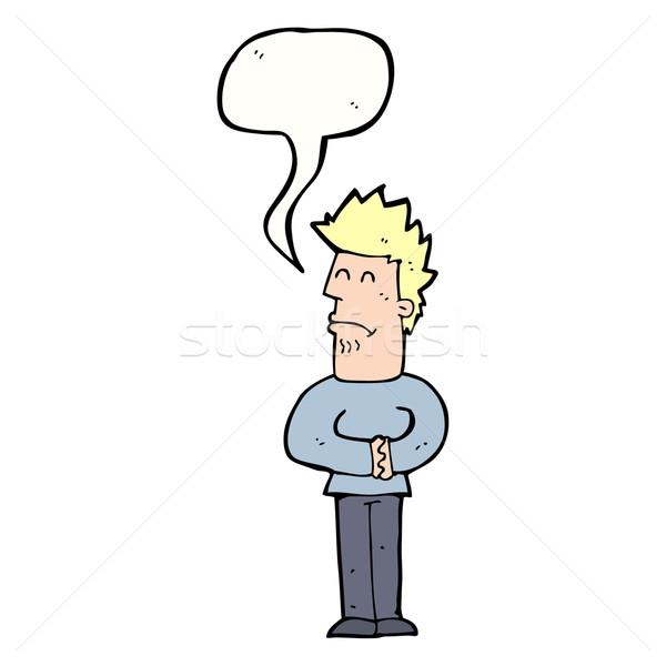 cartoon nervous man with speech bubble Stock photo © lineartestpilot